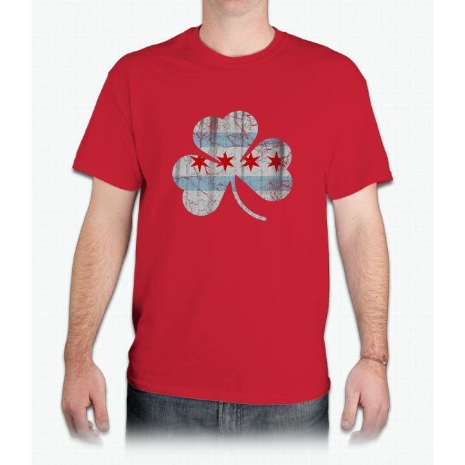 Vintage Irish Flag of Chicago Shamrock - Mens T-Shirt