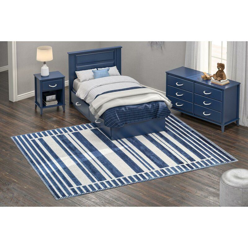 Serenity Latitude Striped Navy Area Rug In 2020 Navy Area Rug Area Room Rugs Cool Rugs