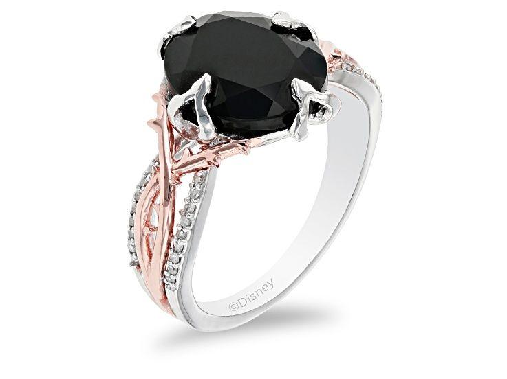Two Tone Enchanted Disney Villains Maleficent 1//6 CT Enhanced Black Diamond Ring