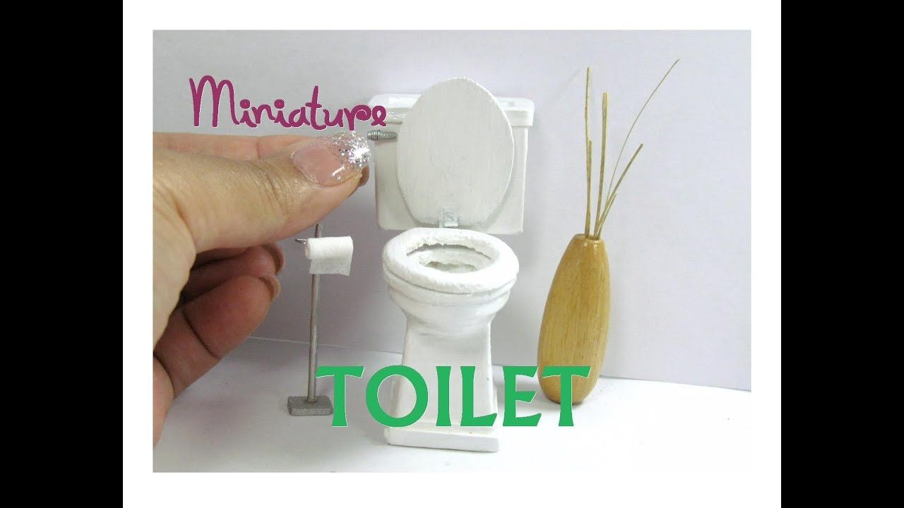 Toilet Wood Dollhouse Miniature Furniture Working Seats and Removable Ta... #dollhouseminiaturetutorials