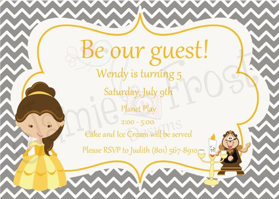Beauty And The Beast Invitation By FrostyCupcakeDesign On Etsy, $15.00