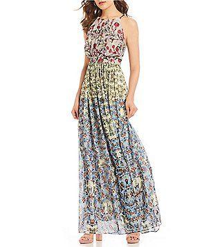 Chelsea Theodore Beaded Floral Print Halter Maxi Dress Trendy
