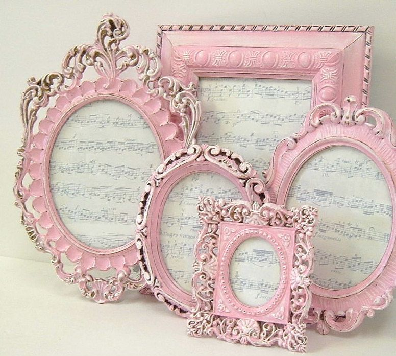 Picture Frames Shabby Chic Picture Frame Set Ornate Frames Pink Home ...