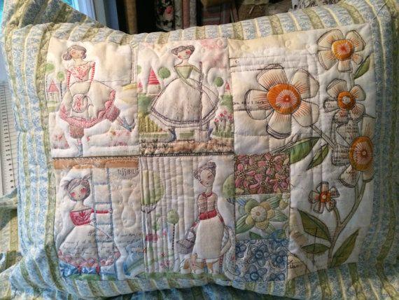 Quilted Pillow Sham Handmade Cori Dantini by NeedlewomanDesigns