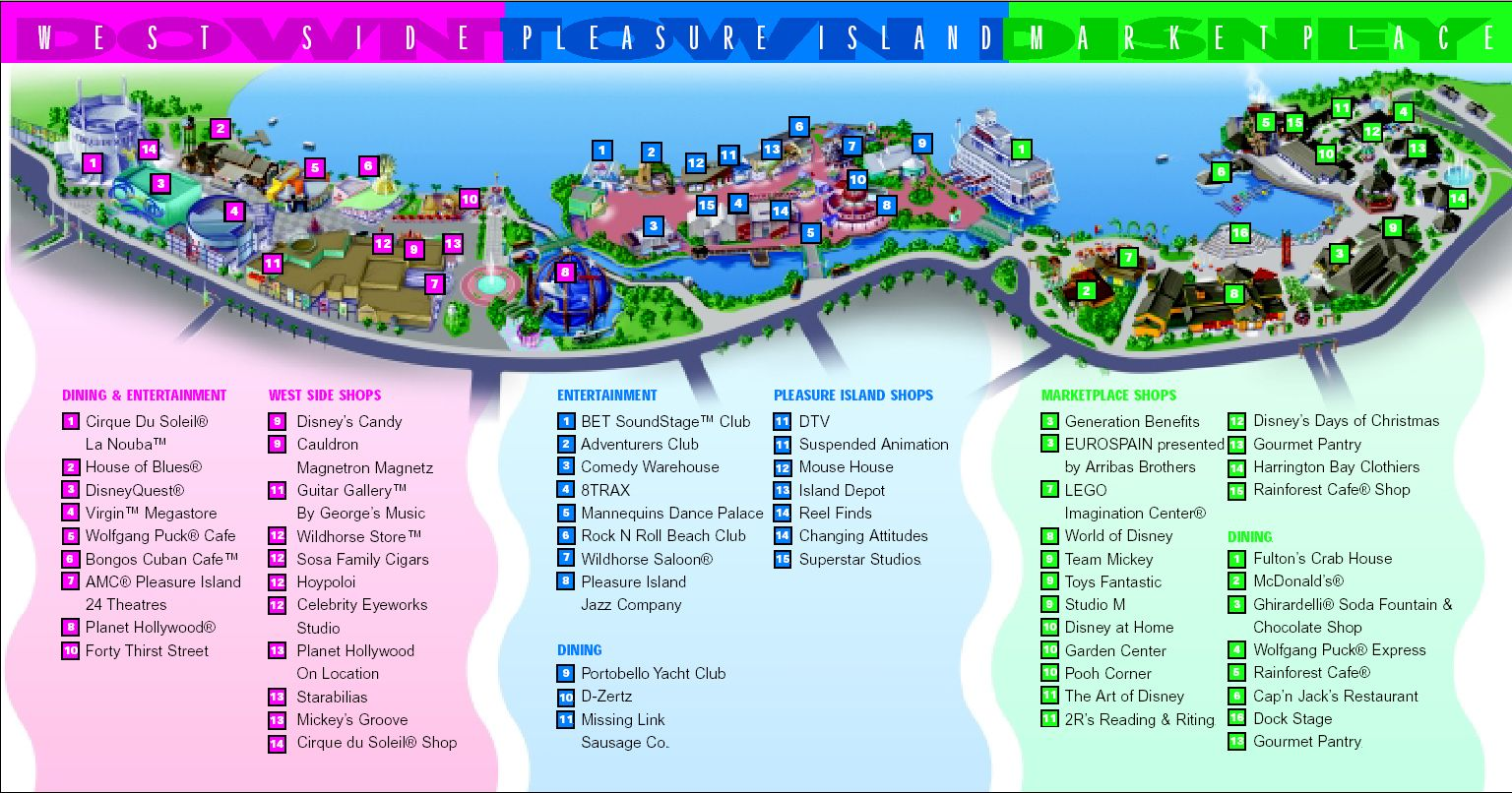 Downtown Disney Orlando Map Map of Downtown Disney and Pleasure Island    Site for discount