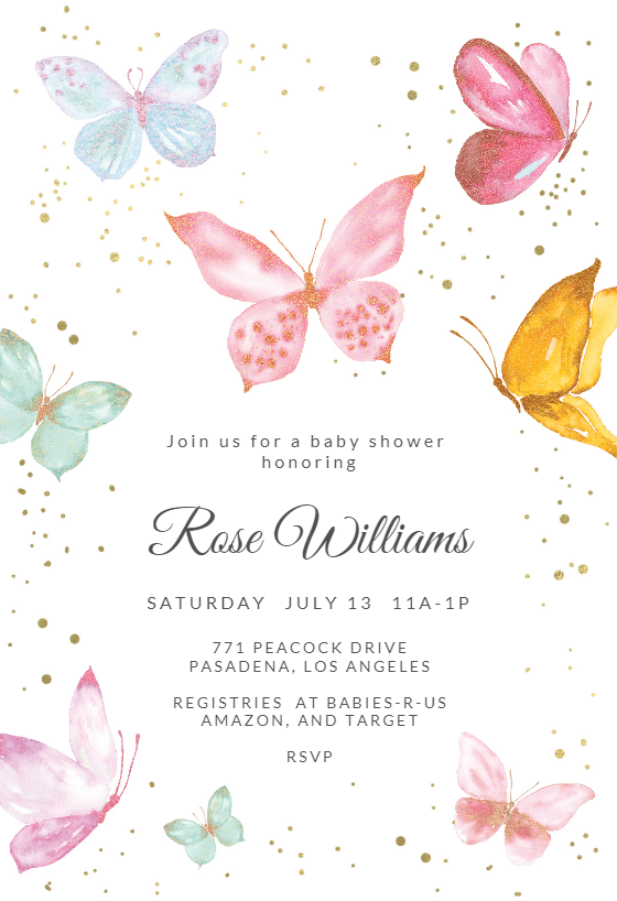 Magical Butterflies Baby Shower Invitation Template Free Greetings Island Butterfly Birthday Invitations Butterfly Baby Shower Invitations Baby Shower Invitation Templates