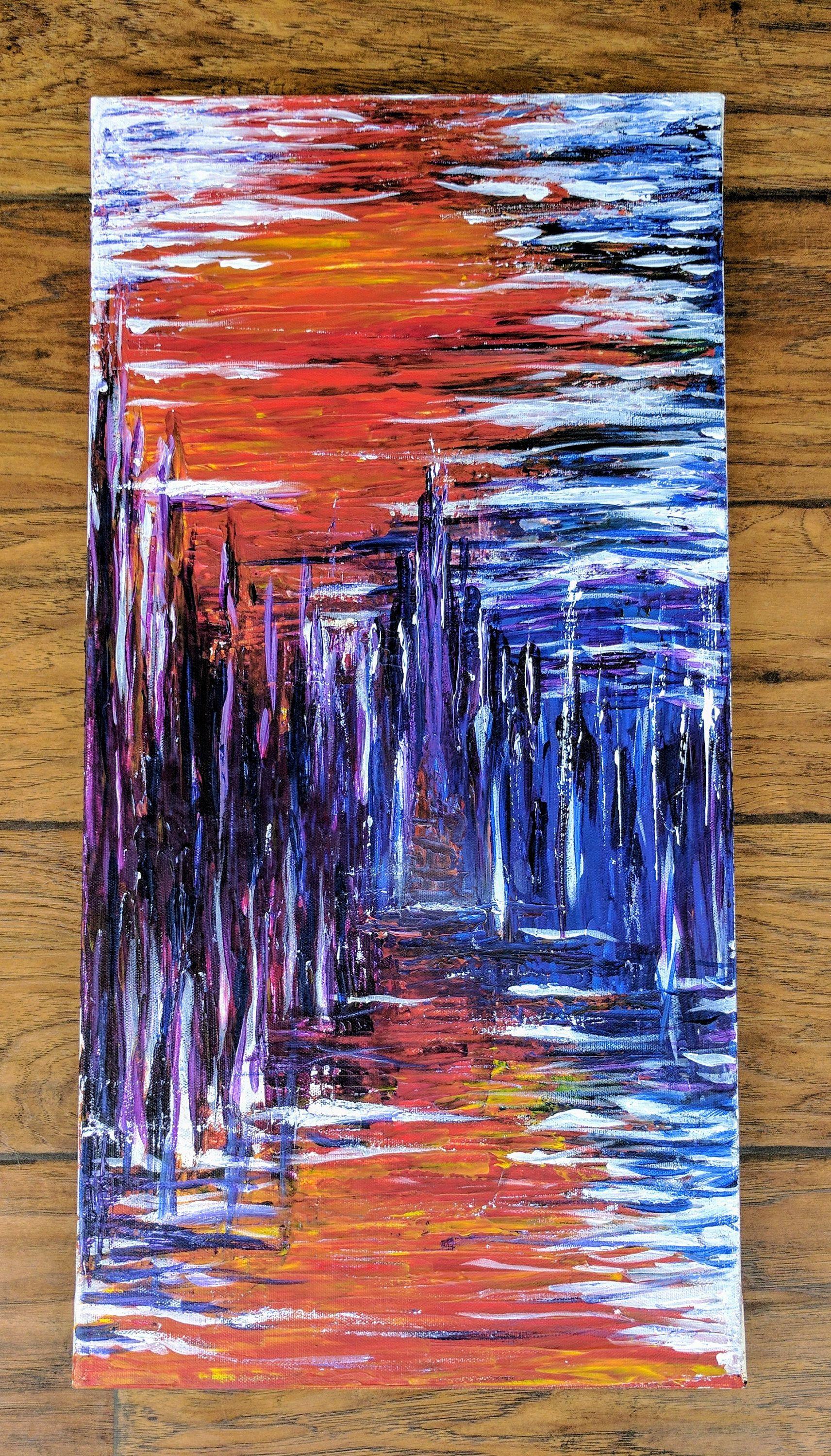Colore Abstrait Peinture Acrylique Sur Toile Art Original Dessins