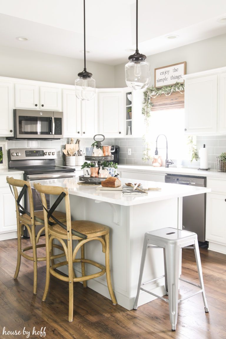 a simple and neutral holiday kitchen affordable farmhouse kitchen kitchen remodel small on farmhouse kitchen xmas id=67360