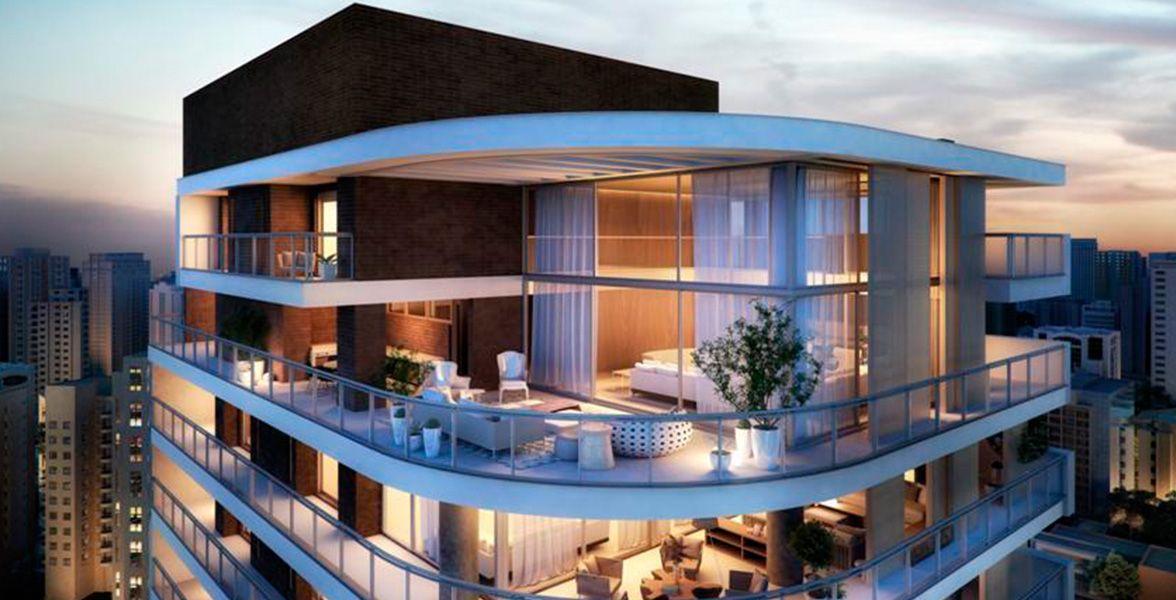 VISTA AÉREA da cobertura duplex do Geometria Itaim com detalhe para o terraço 180º.
