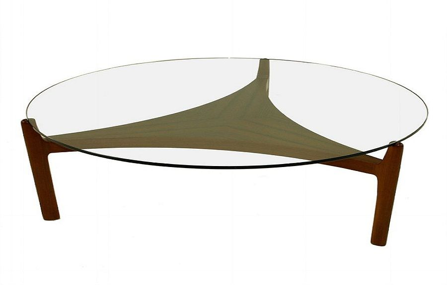 Danish Modern Round Glass Top Coffee Table Design http