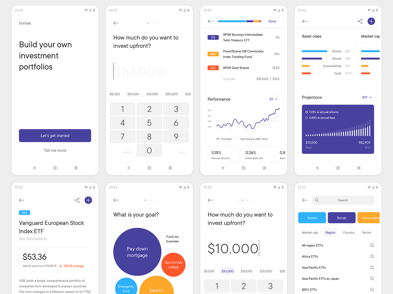 Bonsai — Build Investment Portfolios App 모바일 디자인, 앱, 앱 디자인