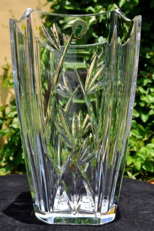 Waterford Crystal Vase Bamboo Pattern Collection 10 Marked Signed