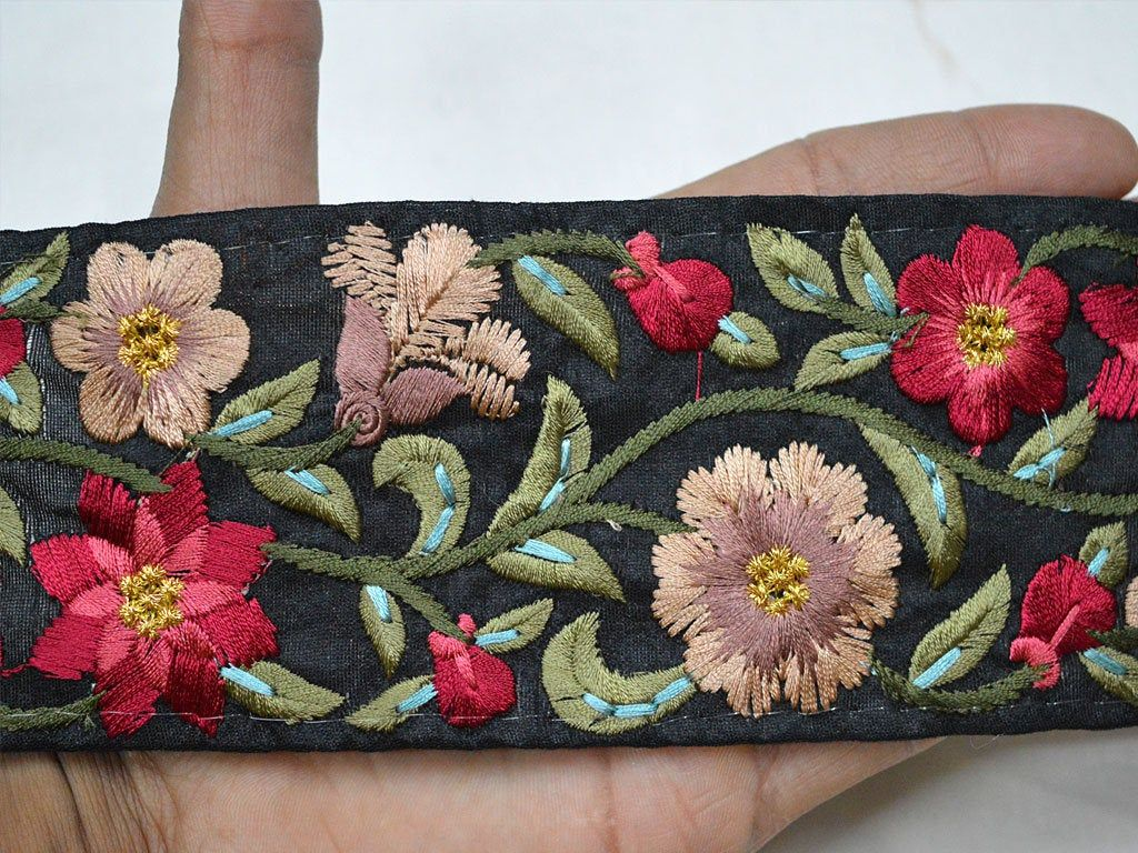 Maroon Fabric Trim Embellishment For Curtain Embroidered Indian