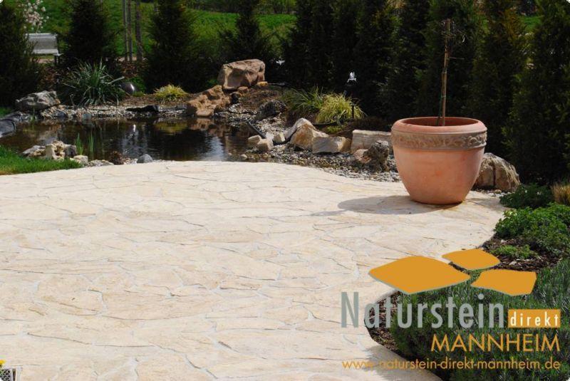 Polygonalplatten Kalkstein Dalmacija Creme Beige Gelb 3 3 5 Cm Stark Kalkstein Mediterrane Gartengestaltung Natursteine