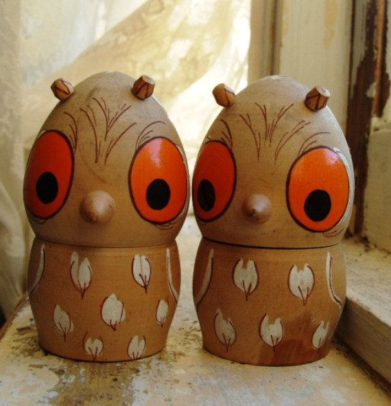 Vintage Handpainted Wooden Woodland Owl by theturniptruck on Etsy, $10.00