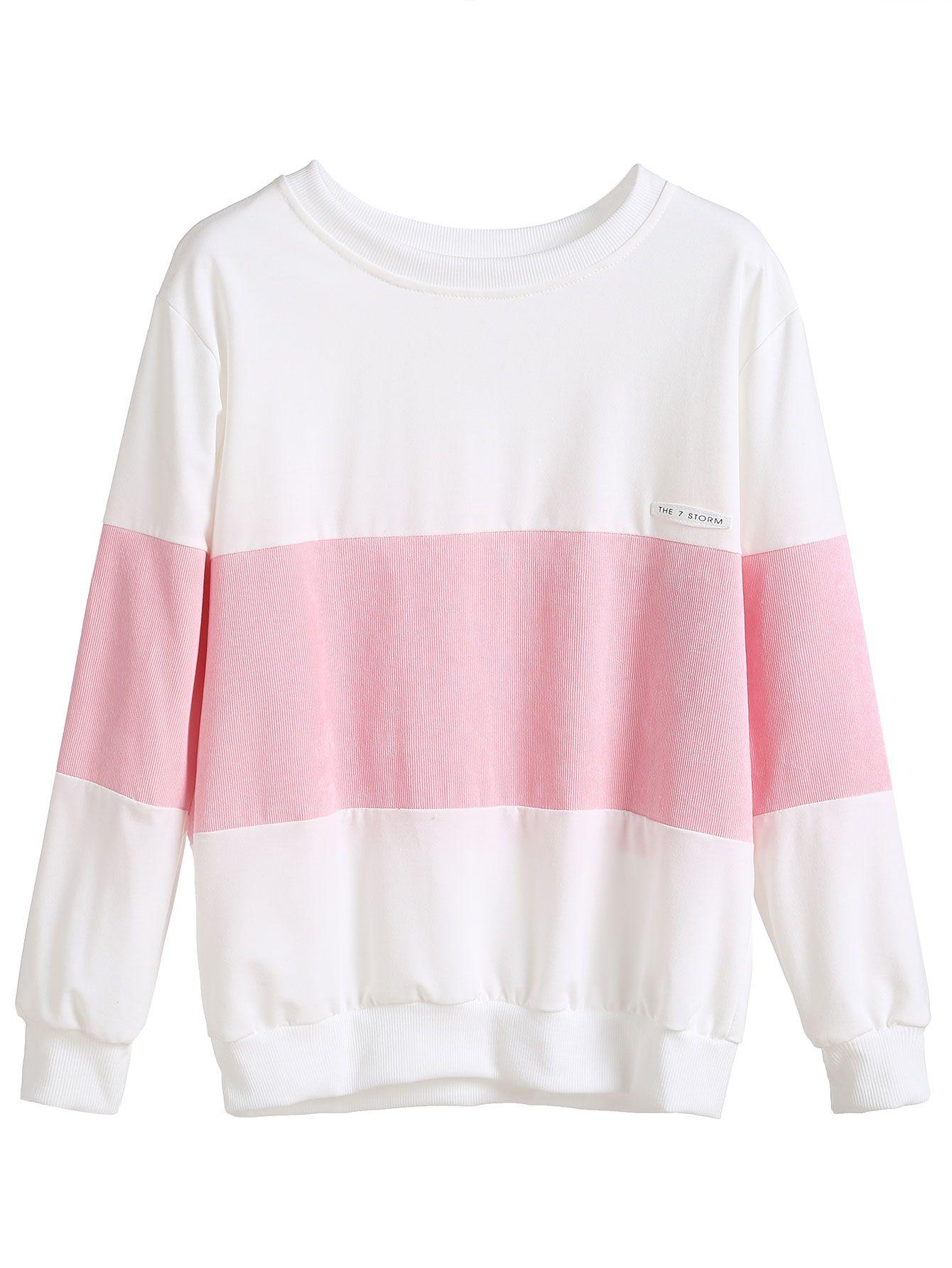 Shop Color Block Patch Sweatshirt online. SheIn offers Color