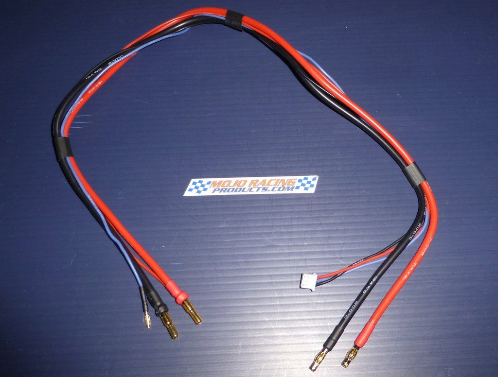 """1S 2S In Car Charge Cable 24"""" 4mm Banana to 5mm/4mm Bullet"""