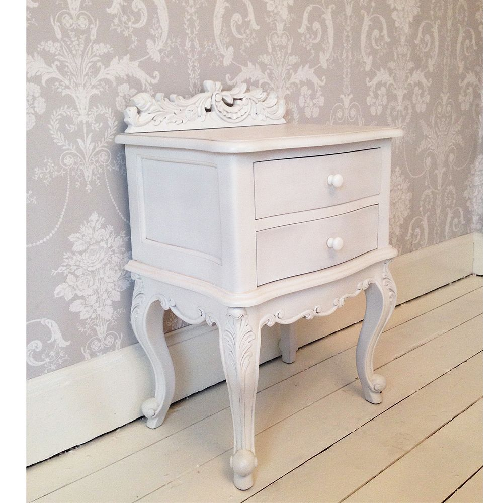 A Beautiful French Style Bedside Table In Pure White