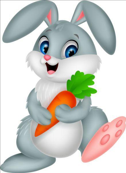 Cartoon rabbit with carrot vector | Vectors | Rabbit ...