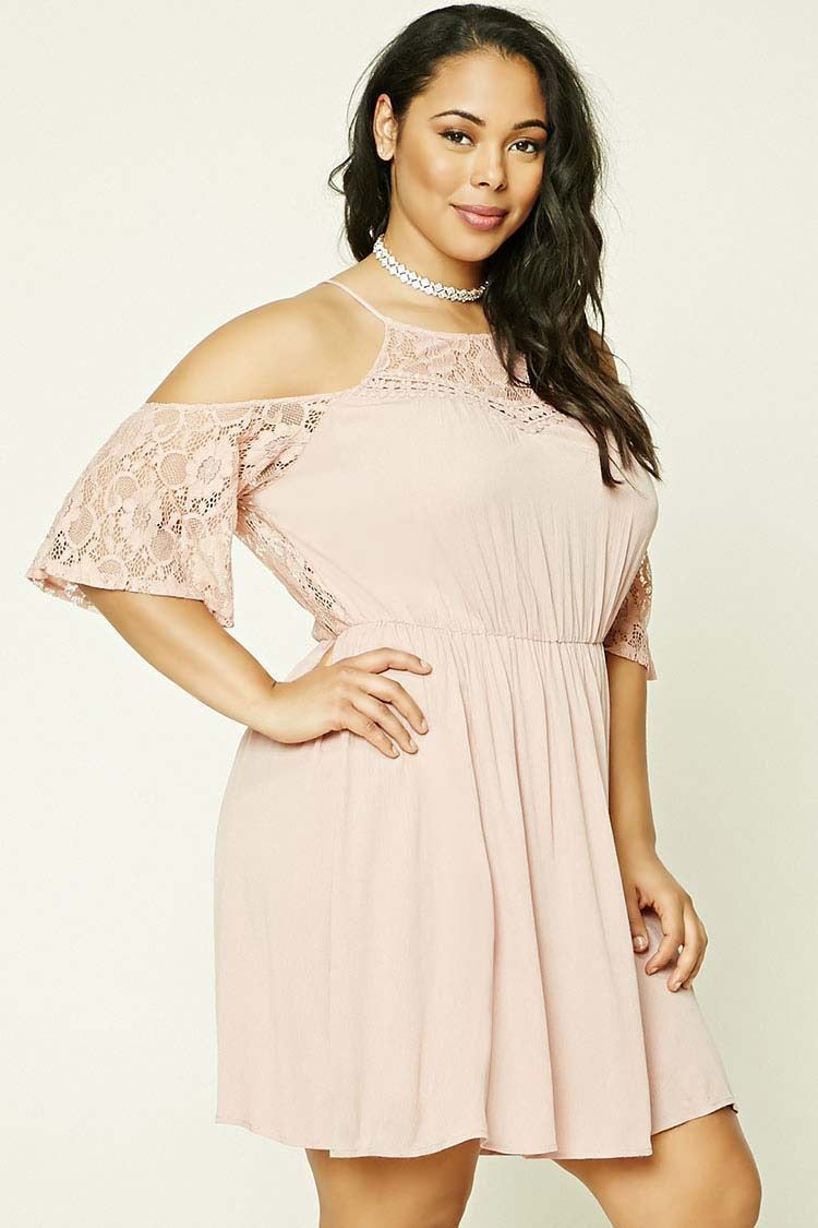 Forever 21+ - A crinkled woven dress featuring an open shoulder with short  lace sleeves 976989066