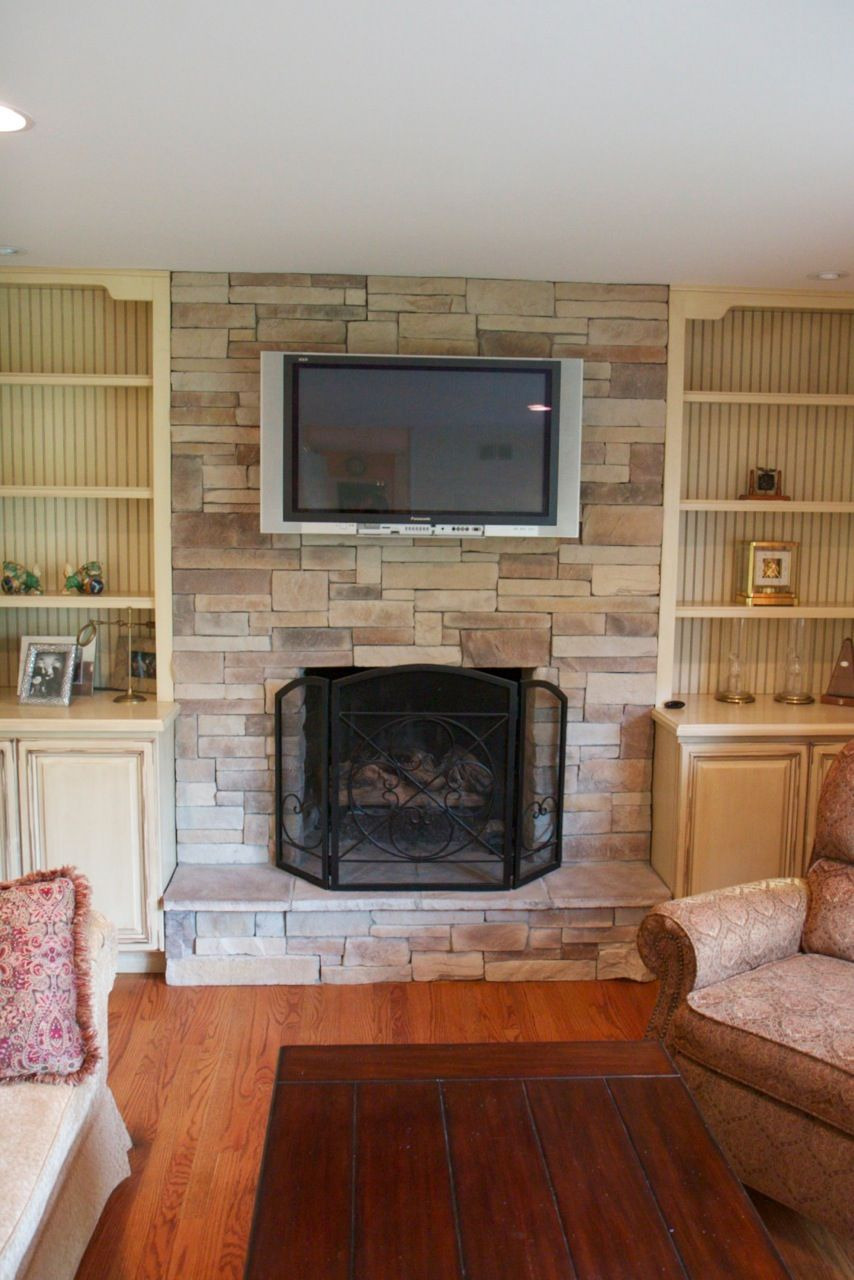 Fireplace Ideas With Television Above | Fireplace Design Ideas: Marvelous  Stone Facade Fireplace With TV