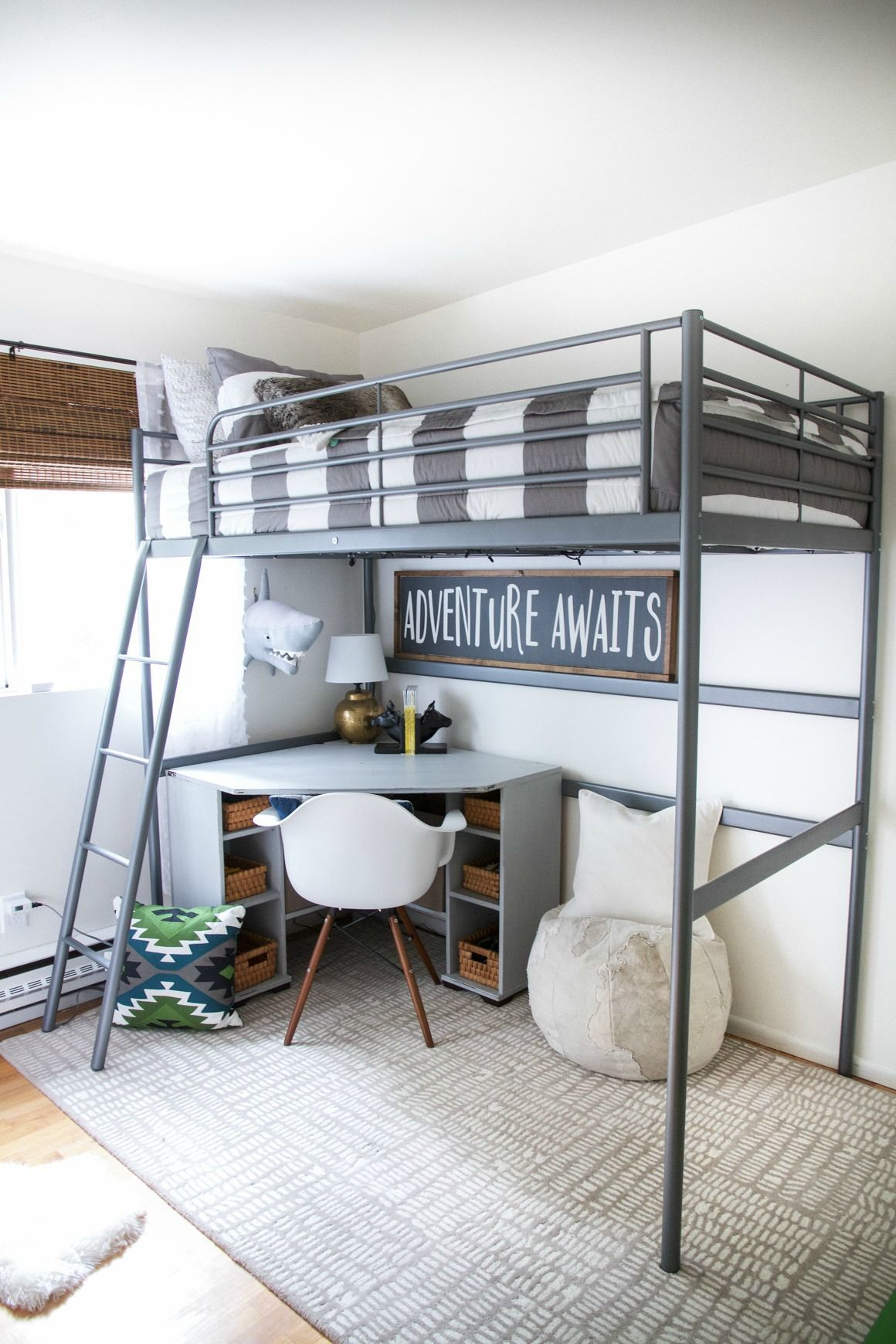 Boys loft bed with desk  Kids Space on a Budget with Zevjoy  Boys  Pinterest  Bunk bed