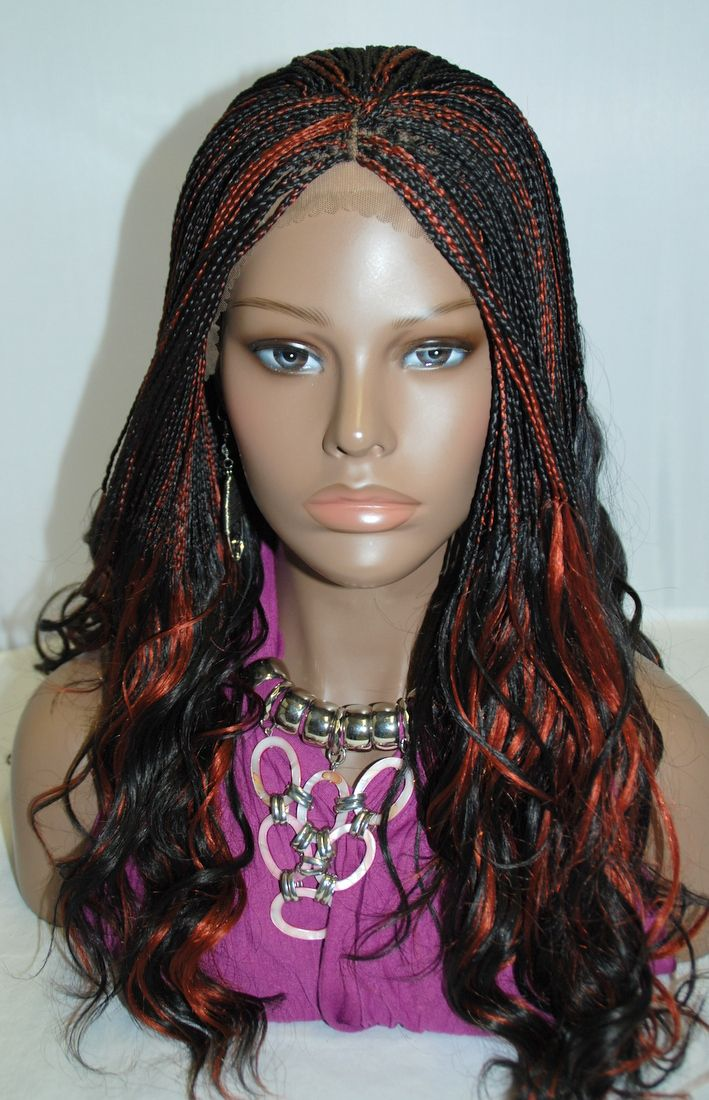 Full Hand Braided Lace Front Wig Micro Braids Color 1350 In 17