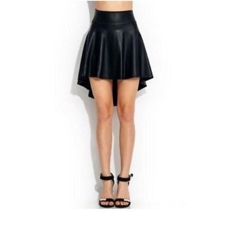 0ece66ec20a Women Plus Size UK Big Size High Waist High Low Faux Pu Leather Skater  Flared Skirt XS-5XL  weddingdresses  womensclothing  womens  promdresses   swimsuits   ...