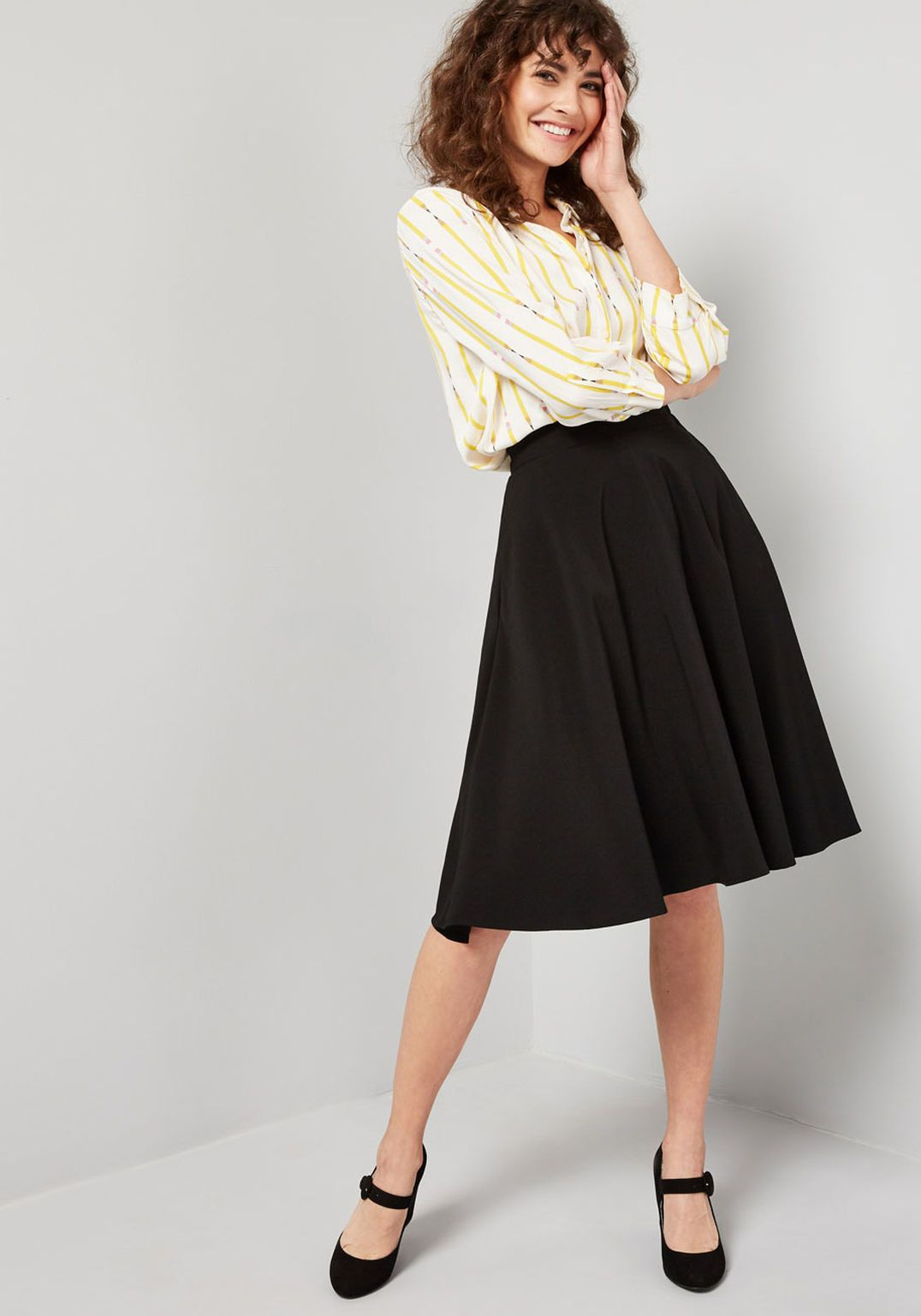 c0baf7d24281bb Just This Sway A-Line Skirt in 2019 | Date Inspo | A line skirt midi ...