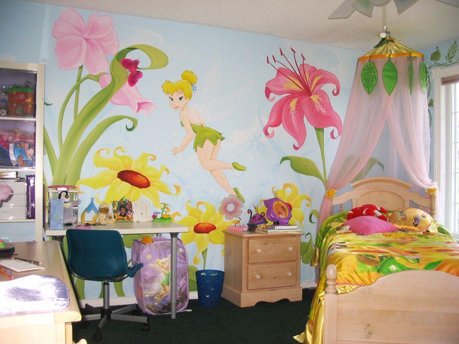 Tinkerbell Kinderzimmer ~ Girls room tinkerbell painted wall mural emilia pinterest