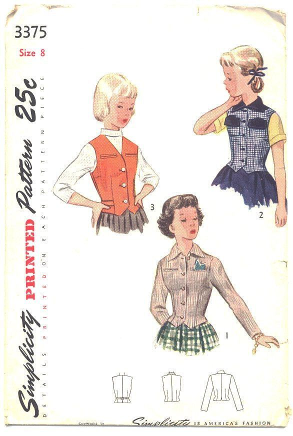 Vintage 1940s Girls Long Sleeve Jacket Simplicity Sewing Pattern ...