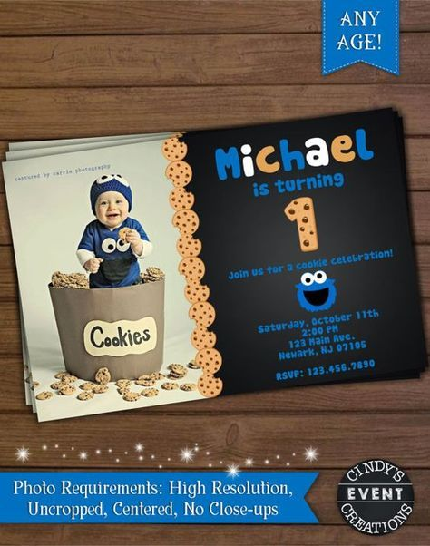 Cookie monster birthday invitation printable cookie monster cookie monster birthday invitation por cindyseventcreations filmwisefo Gallery