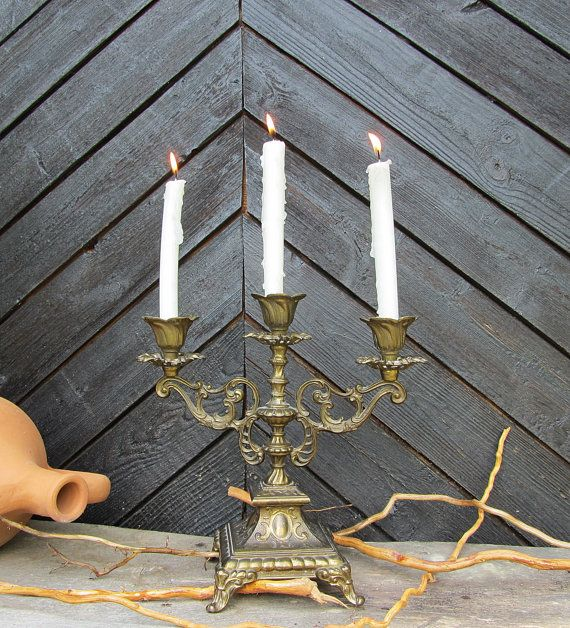Vintage brass candle holder Unique candle by ANTIQUEcountry, $45.90