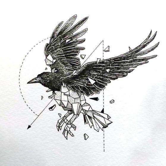 Minimalist Raven Tattoo: Great Geometric Raven Tattoo Design
