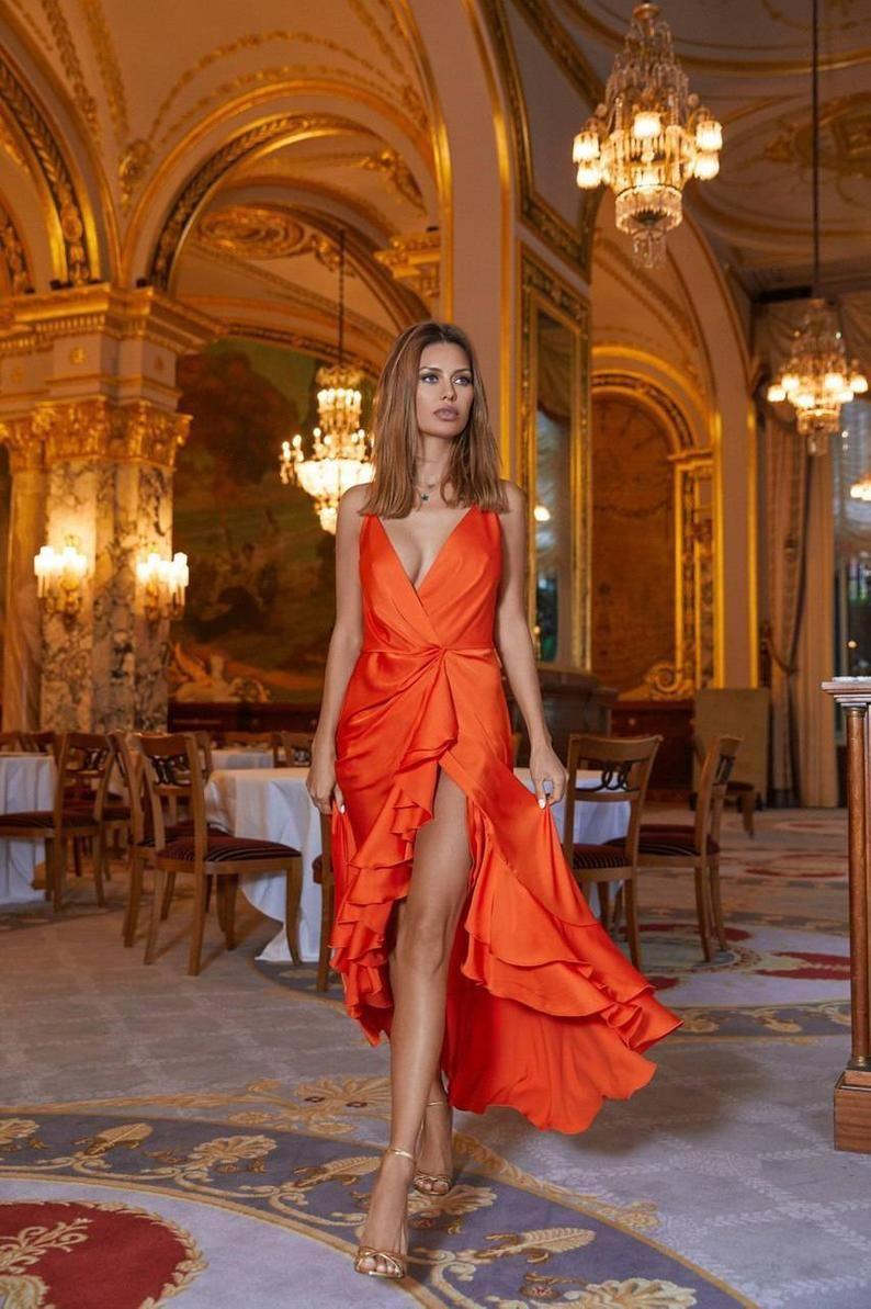 Orange Silk Wrap Assymetric Dress Wedding Guest Dress Beach Etsy In 2021 Orange Evening Dresses Orange Cocktail Dresses Cocktail Dress Wedding [ 1193 x 794 Pixel ]