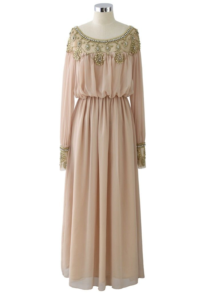 This would be great for the girls. Goddess Beads Embellished Chiffon Maxi Dress in Pink