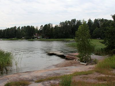 The small beach of Villa Frosterus, Soukka (Espoo, Finland).