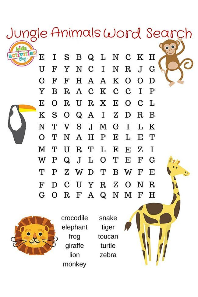 JUNGLE ANIMALS WORD SEARCH PRINTABLE | Word search, Library ideas ...