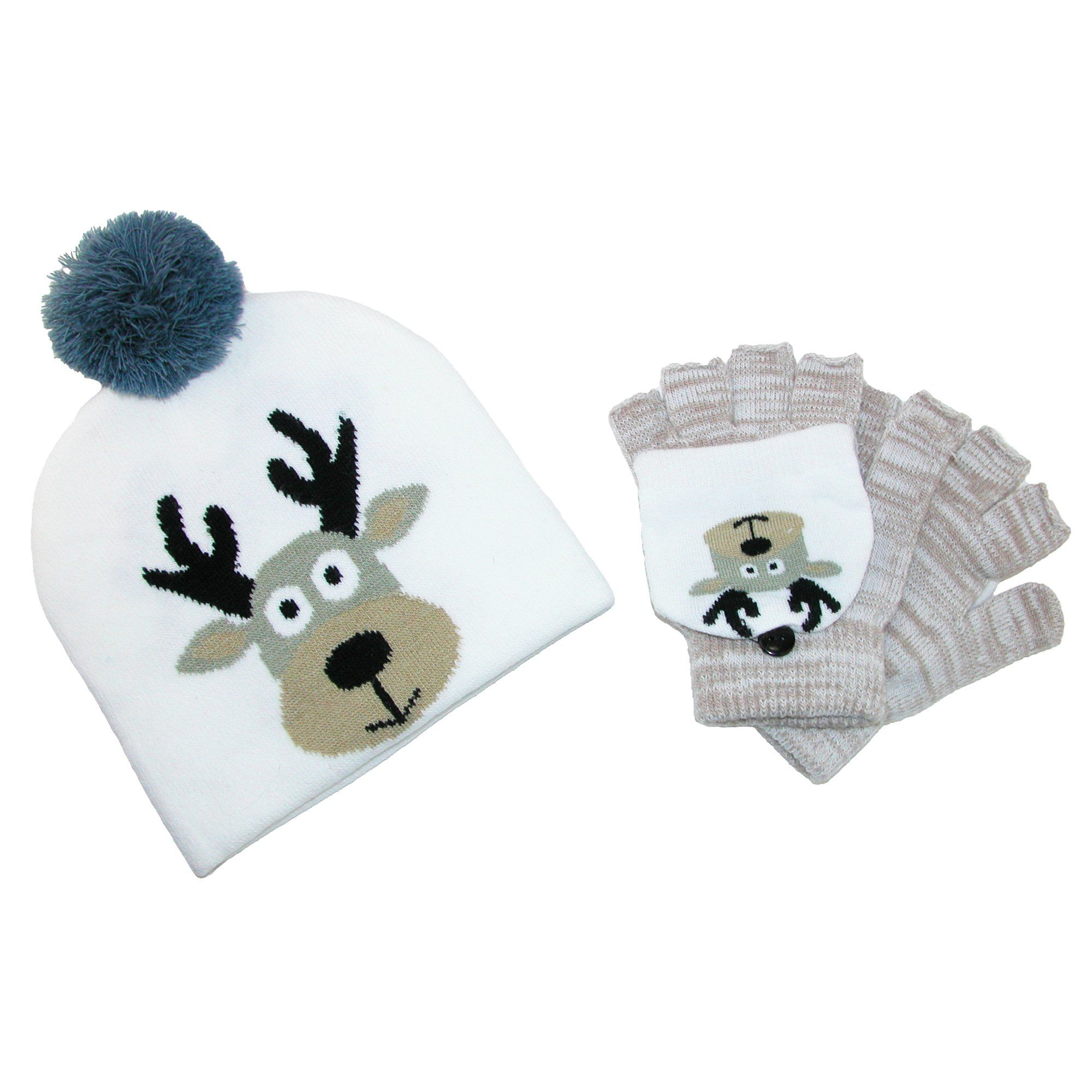 dc21118b81f CTM Kid s Winter Themed Hat and Convertible Mitten Set