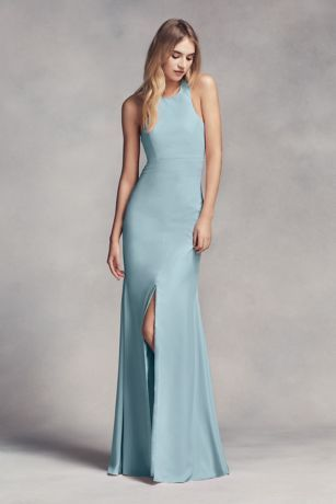 Long Halter Bridesmaid Dress with Skirt Slit Style VW360297 ...