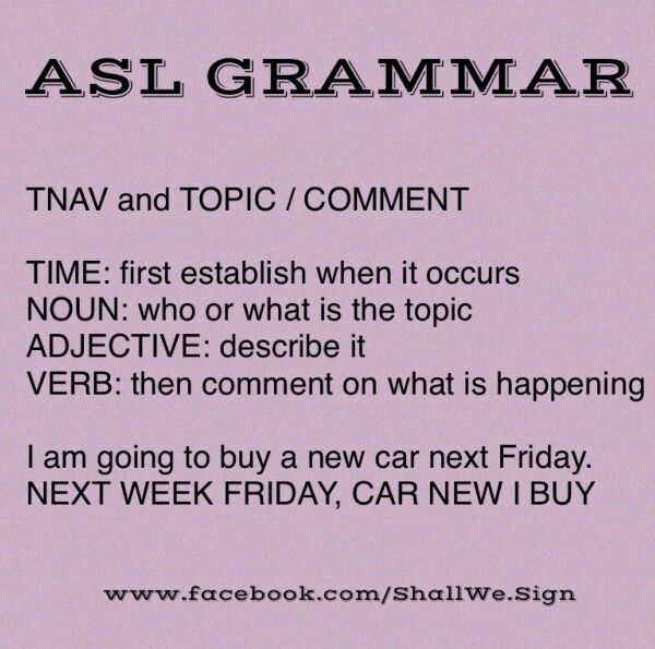 Here is the simplest way to remember ASL grammar... The TNAV rule ...