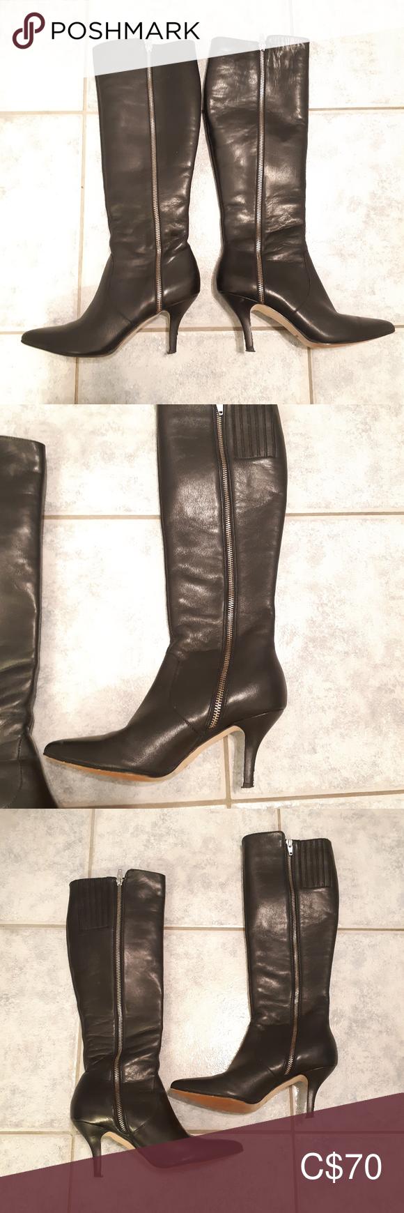 Neiman Marcus Zip Knee leather boots size 6.5 M Ne