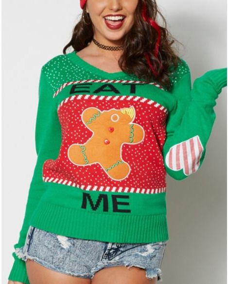 Spencers Ugly Christmas Sweaters.Ugly Christmas Sweater Gingerbread Man Eat Me Adult Humor