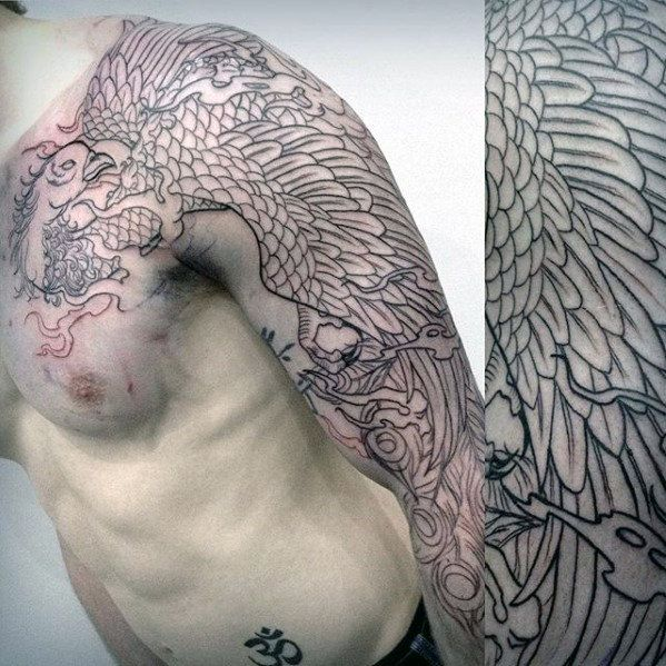 black ink outline mens japanese phoenix sleeve tattoos aaa tattoo pinterest. Black Bedroom Furniture Sets. Home Design Ideas