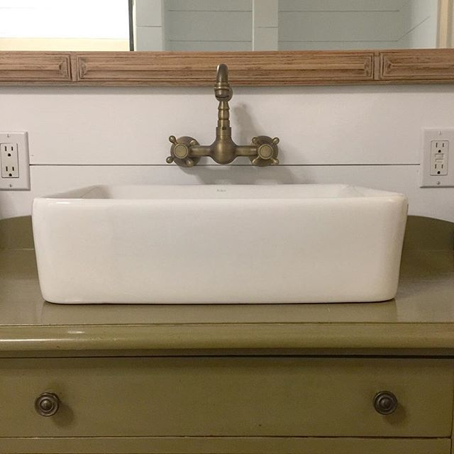 Farmhouse Sink Idea Vessel Sink Design Vintage Buffet Turned Vanity Wall Mount Faucet I Diy Bathroom Makeover Wall Mount Faucet Bathroom Farmhouse Faucet