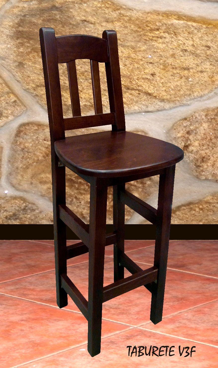 Taburete madera con respaldo v3f mobiliario de madera - Butacas para bar ...