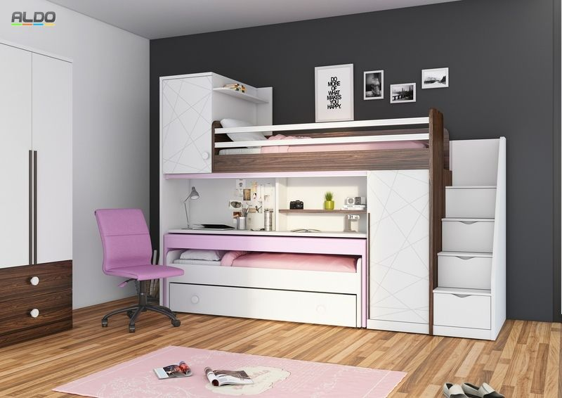 łóżko Piętrowe Z Biurkiem New Tower Pink Kids Bedroom In