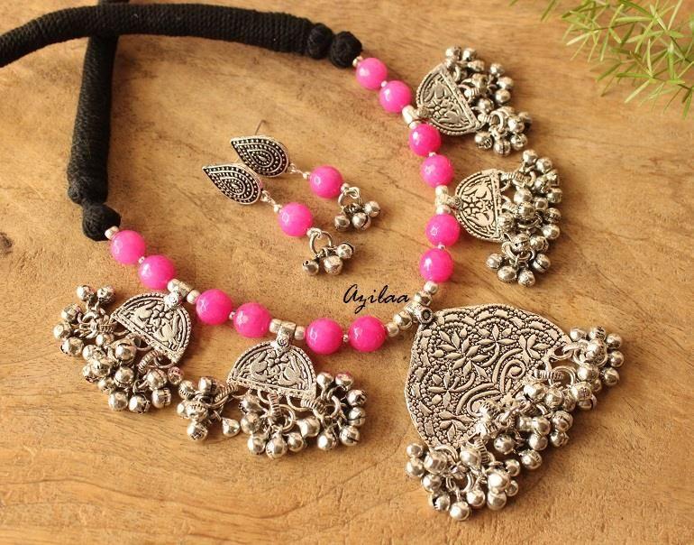 437fa29eb Shop hot pink designer necklace earrings set