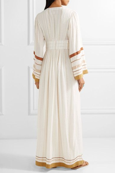 Rachel Zoe - Annabel Grosgrain-trimmed Metallic Gauze Maxi Dress - Ecru