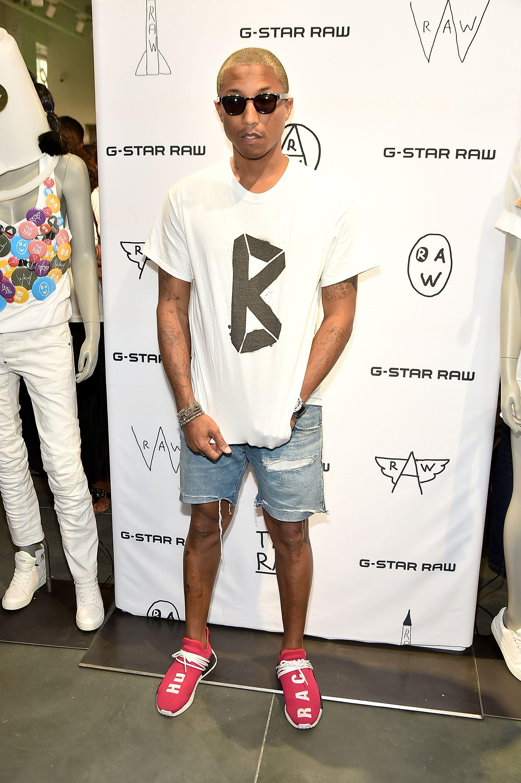 Pharrell Williams Wears Chanel Sunglasses, G Star Raw Jeans
